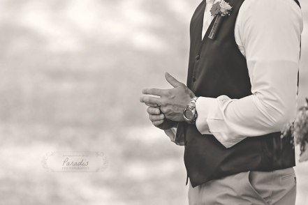 Groom Ring firefighter Maine wedding back yard Paradis Photography