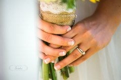 firefighter rings and bouquet wedding maine back yard Paradis Photography