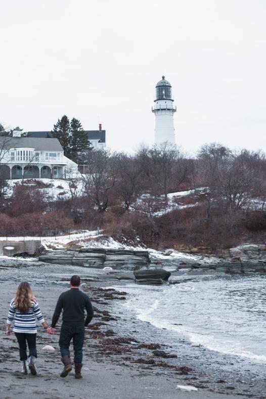 Maine Maternity Photography lighthouse beach
