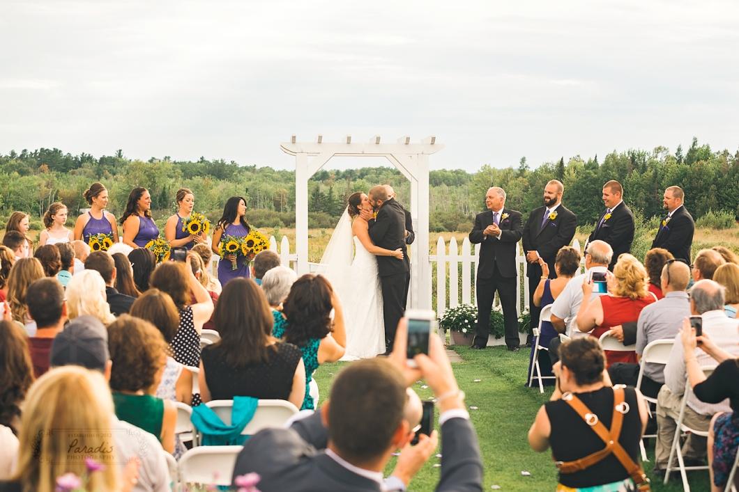 Just Married- First Kiss! | Paradis Photography #MaineWeddingPhotographer
