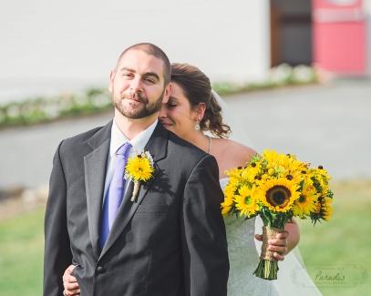 bride and groom- First Look   Paradis Photography #MaineWeddingPhotographer