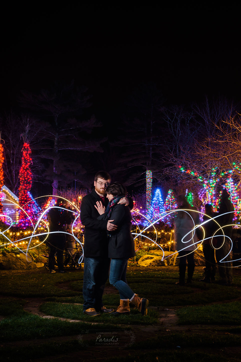 Maine engagement photographer gardens aglow coastal Maine botanical gardens