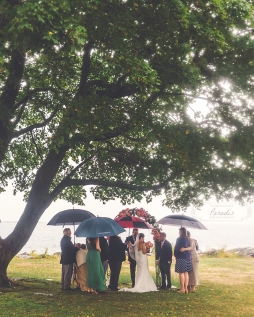 Destination Wedding Photographer romantic rainy day ceremony new hampshire