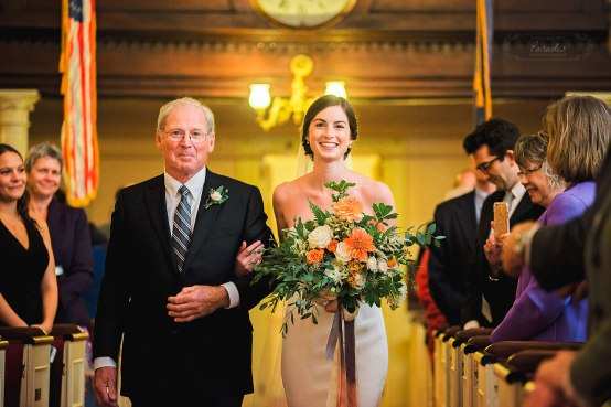 First Parish Portland Maine Bride & Father Wedding Ceremony Paradis Photography
