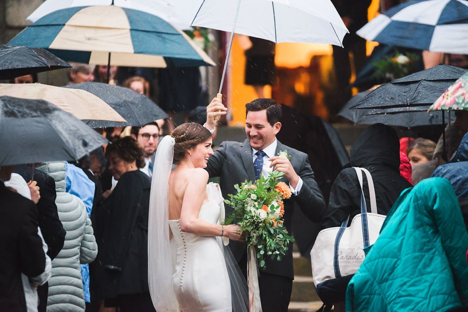 First Parish Portland Maine Wedding Recessional Umbrellas Rain