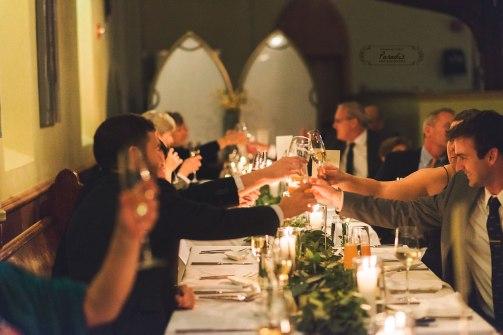 Maine wedding photographer Wedding candlelit dinner Grace Restaurant Maine Paradis Photography