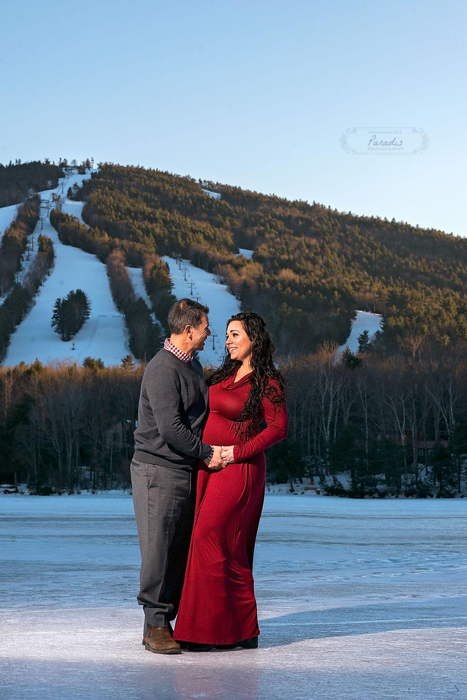 Maine Maternity Photographer | Paradis Photography bridgton shawnee peak winter