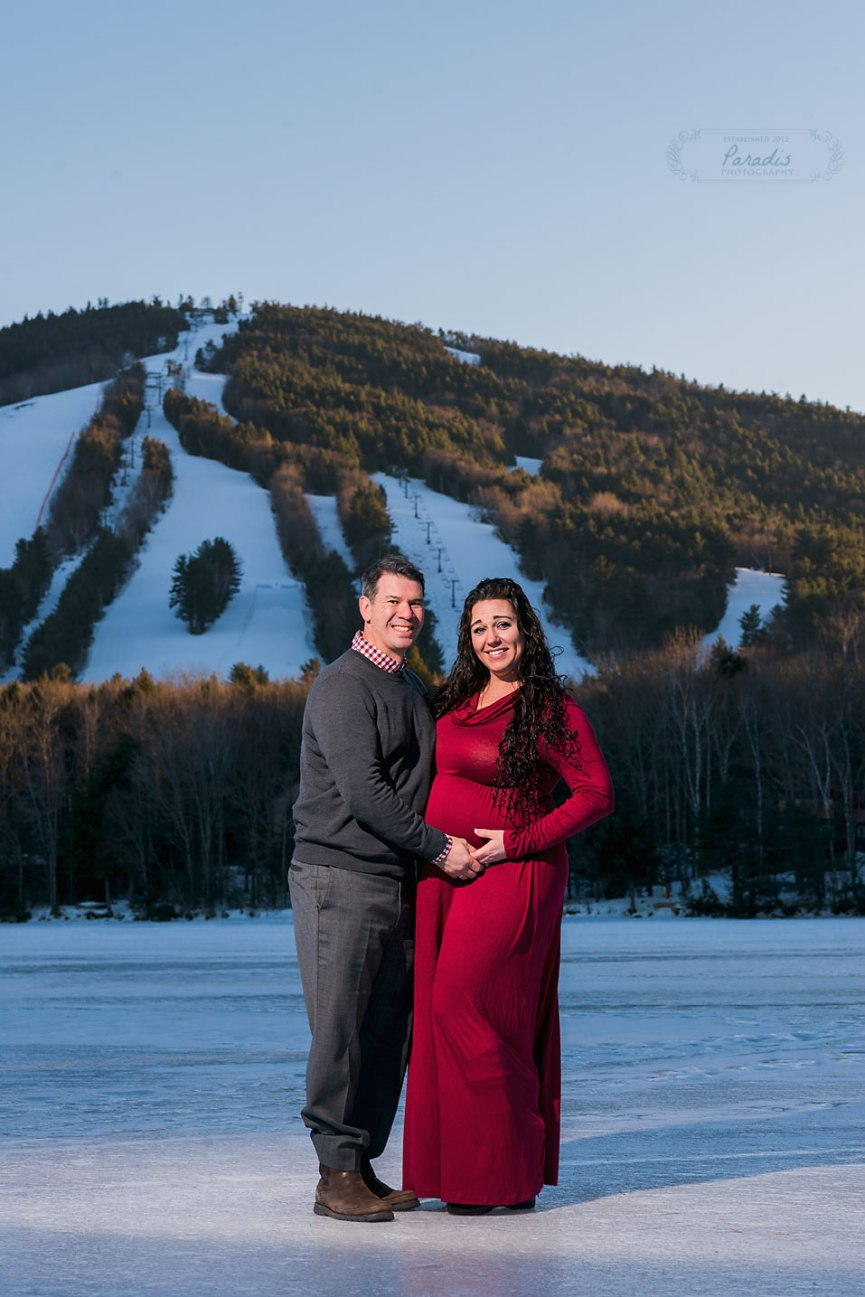Maine Maternity Photographer | Paradis Photography winter Shawnee Peak