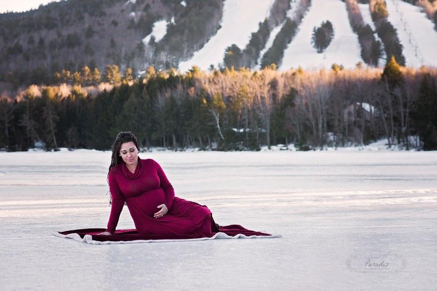 Maine Maternity Photographer | Paradis Photography bridgton winter