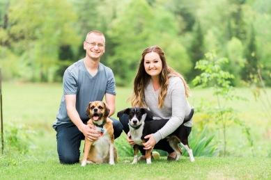 Engaged Couple and Furbabies | Paradis Photography Maine Wedding Photographer